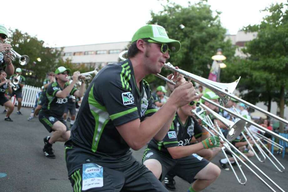 Sound Wave, the Sounders FC band, performs. Photo: CLIFF DESPEAUX / FOR SEATTLEPI.COM