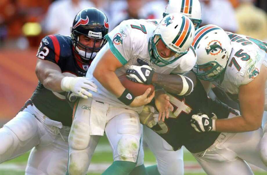 Week 2, Sept. 18. 3:15 p.m., CBS. At Dolphins. Wade Phillips' defense intercepts Chad Henne three times and scores Texans' first defensive touchdown since 2009 season. Texans 27, Dolphins 13. Record: 2-0 Photo: Brett Coomer, Houston Chronicle / Houston Chronicle