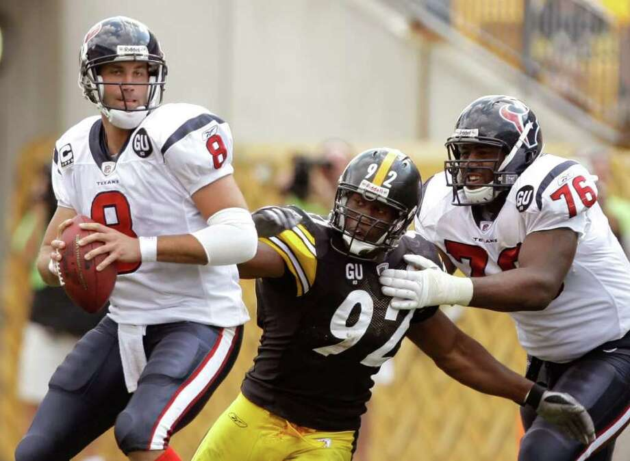 Week 4, Oct. 2. Noon, CBS. vs. Steelers. Texans prove they aren't soft with their most physical side of the ball. Neil Rackers kicks four field goals, including the game-winner. Texans 19, Steelers 16. Record: 3-1 Photo: Brett Coomer, Houston Chronicle / Houston Chronicle