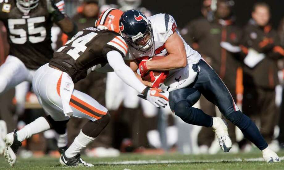Week 9, Nov. 6. Noon, CBS. vs. Browns. Colt McCoy catches Texans sleeping and almost pulls off an upset with two touchdown passes, but Rackers kicks game-winning field goal. Texans 20, Browns 17. Record: 7-2 Photo: James Nielsen, Houston Chronicle / Houston Chronicle