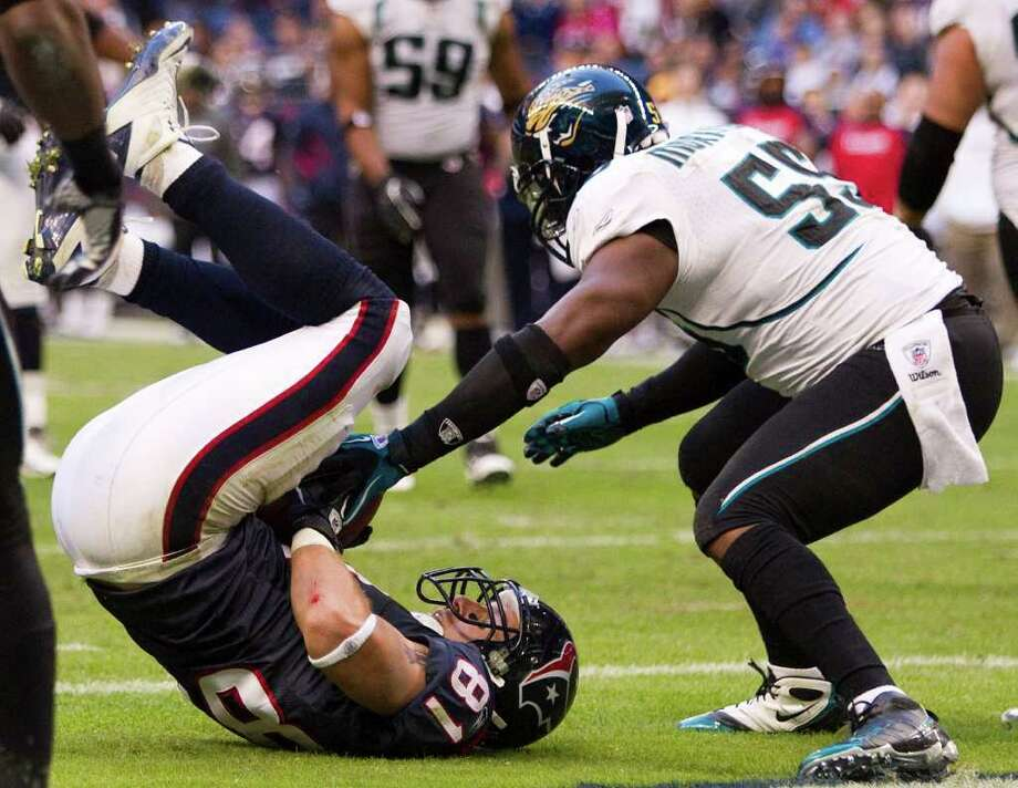 Week 12, Nov. 27. Noon, CBS. at Jaguars. Maurice Jones-Drew rushes for 125 yards and scores three touchdowns to ignite Jaguars to an upset victory despite three Schaub touchdowns. Jaguars 24, Texans 21. Record: 7-4 Photo: Brett Coomer, Houston Chronicle / Houston Chronicle