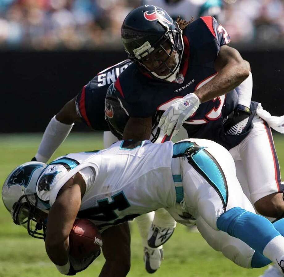 Week 15, Dec. 18. Noon, Fox. vs. Panthers. The defense plays against its fourth rookie quarterback and sacks Cam Newton five times. Barwin returns fumble for a touchdown. Texans 38, Panthers 10. Record: 10-4 Photo: Smiley N. Pool, Houston Chronicle / Houston Chronicle