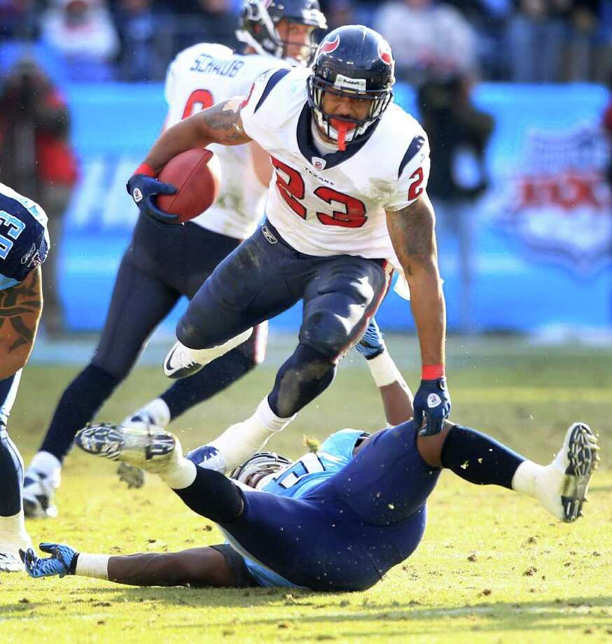 Week 17, Jan. 1. Noon, CBS. vs. Titans. Texans win division on tiebreaker over Colts after Johnson beats Finnegan on two touchdown catches and Foster rushes for 200 yards. Texans 30, Titans 17. Record: 11-5 Photo: Brett Coomer, Houston Chronicle / Houston Chronicle
