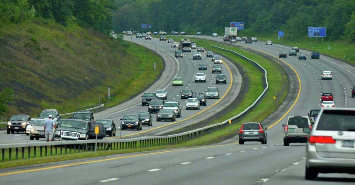 Labor Day traffic volume builds, as can be seen in this view of southbound traffic on the Northway south of Exit 12 in Malta just before 1 p.m. (Philip Kamrass / Times Union)