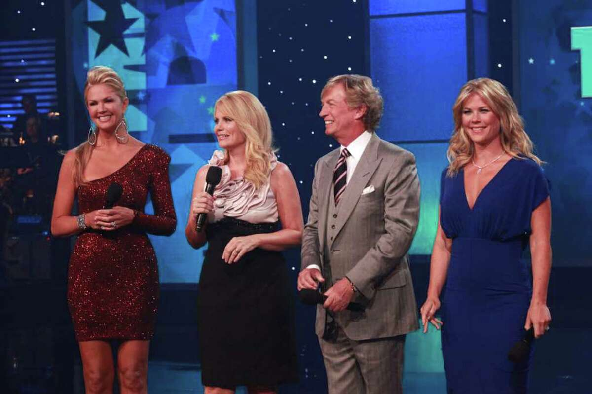 This photo provided by Muscular Dystrophy Association, The 46th annual Muscular Dystrophy Association telethon co-hosts, from left to right, Nancy O?'Dell, Jann Carl, Nigel Lythgoe and Alison Sweeney ad-lib personal salutes to Jerry Lewis, Sunday, Sept. 4, 2011, in Las Vegas. The hosts of the telethon say Jerry Lewis has retired from the yearly fundraiser, the organization's first comments since announcing the beloved icon's departure last month. (AP Photo/MDA, Richard Cartwright)