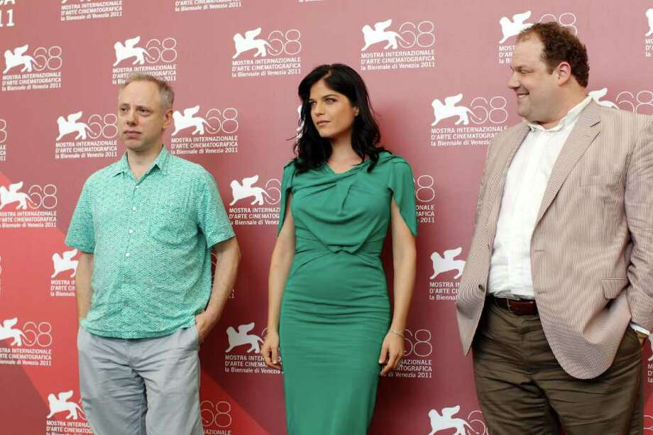 From left, director Todd Solondz, actress Selma Blair, and actor Jordan Gelber pose during the photo call for the movie Dark Horse at the 68th edition of the Venice Film Festival in Venice, Italy, Monday, Sept. 5, 2011. (AP Photo/Andrew Medichini) Photo: Andrew Medichini