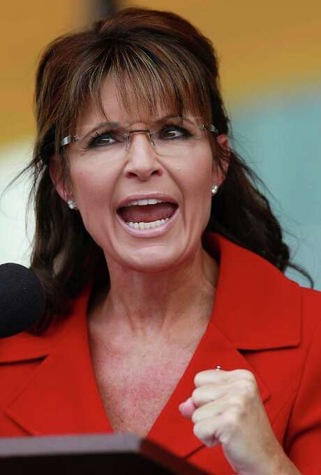 JUSTIN SULLIVAN : GETTY NOT IN ... YET: Former Alaska Gov. Sarah Palin didn't reveal her presidential intentions at a rally Monday in New Hampshire. Photo: Justin Sullivan, Staff / 2011 Getty Images