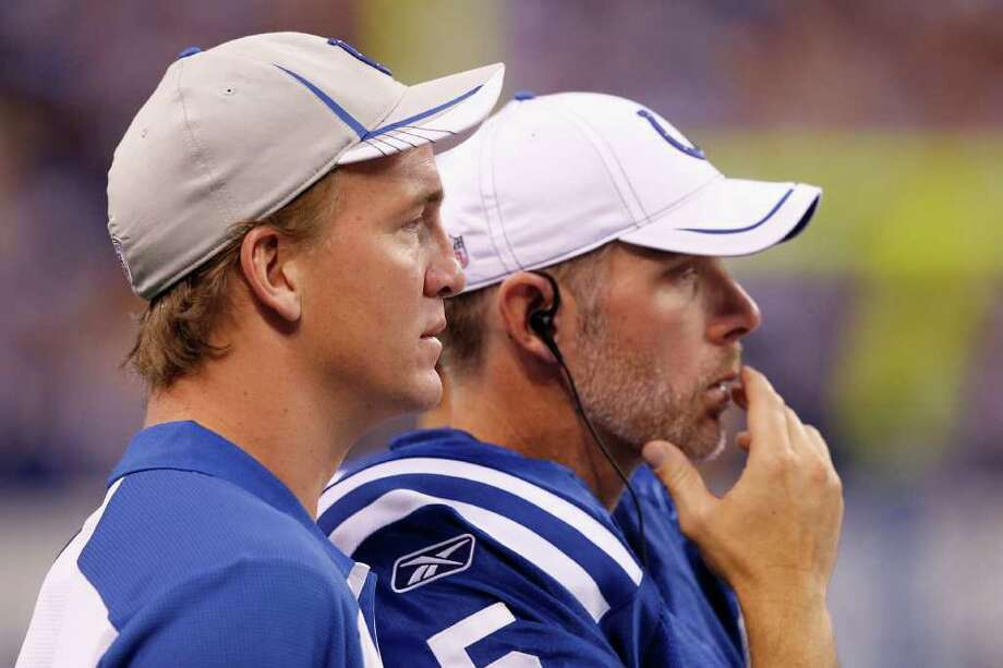 The Colts boast plenty of experience at quarterback with Peyton Manning, left, and Kerry Collins, who enters his 17th season and is playing for his sixth NFL team. Photo: Joe Robbins, Stringer / 2011 Getty Images