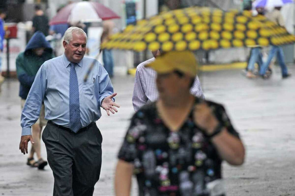 NYRA President and CEO Charles E. Hayward walks to his office on the last day of racing for the year at Saratoga Race Course on Monday Sept. 5, 2011 in Saratoga Springs, NY. (Philip Kamrass / Times Union)