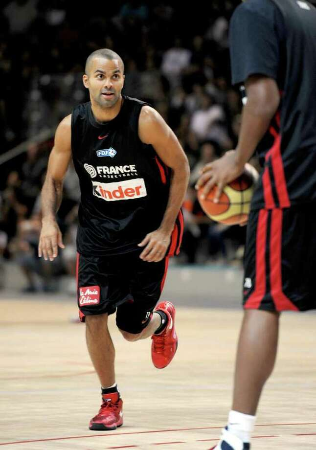 French national team's player Tony Parker practices during a training on Wednesday, Aug. 24, 2011 in the French norther city of Calais, in preparation for the EuroBasket in Lithuania 2011 from Aug. 31 to Sept. 18, 2011. Photo: Denis Charlet/AFP/Getty Images / 2011 AFP
