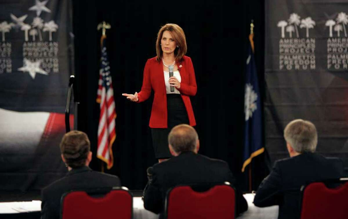 Republican presidential candidate Rep. Michele Bachmann, R-Minn., speaks at the American Principles Project Palmetto Freedom Forum Monday Sept. 5, 2011, in Columbia, S.C. (AP Photo/ Mary Ann Chastain)