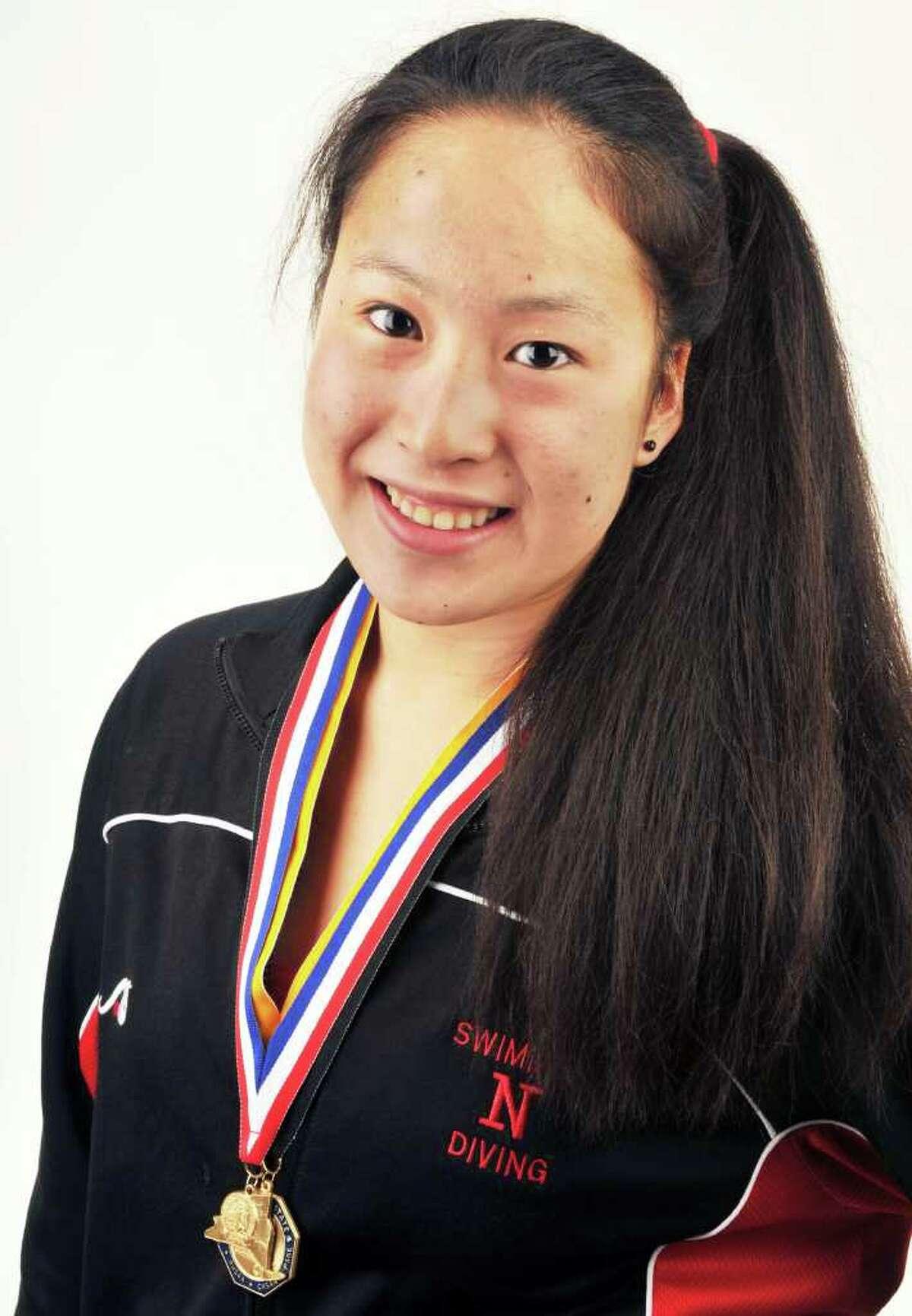 State champion swimmer Kina Zhou of Niskayuna in the Times Union studio Friday Sept. 2, 2011. (John Carl D'Annibale / Times Union)