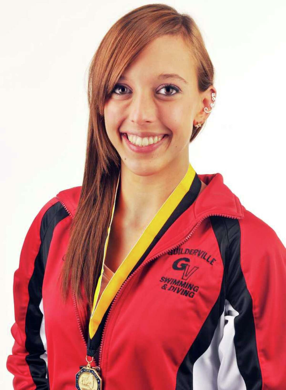 State champion swimmer Jenna Bickel of Guilderland-Voorheesville (Guilderville) in the Times Union studio Friday Sept. 2, 2011. (John Carl D'Annibale / Times Union)