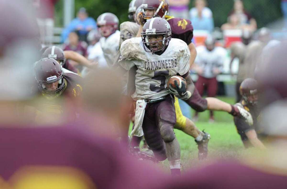 Watervliet's Andre Williams runs with the ball during a high school football game against Fonda in Fonda, N.Y. on Monday, Sept. 5, 2011. (Lori Van Buren / Times Union)