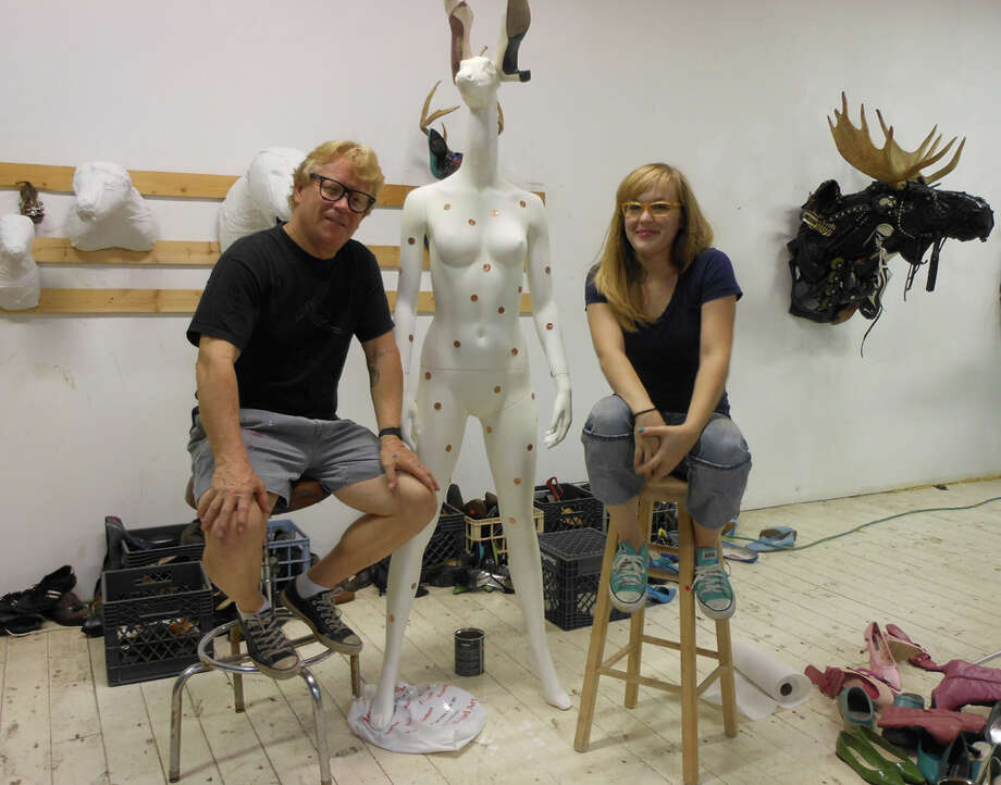 "Artists Ken and Clare Little, father and daughter, are collaborating on a mannequin piece called ""Doe"" for Models and Mannequins: Fashion Night Out. STEVE BENNETT / EXPRESS-NEWS"