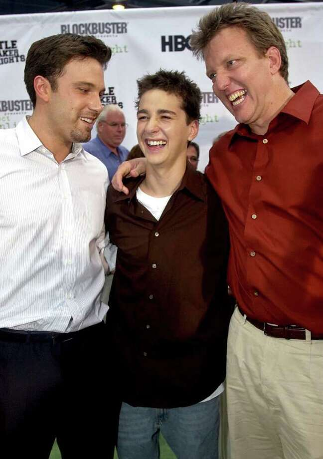 "Shia LaBeouf, center (photographed with Ben Affleck, left, and producer Chris Moore), started acting when he was 12, doing small parts in various movies and TV shows before handing the role of Louis Stevens in the Disney series ""Even Stevens"" in 1999, when he was 13.  Photo: MATT SAYLES, STF / AP2003"