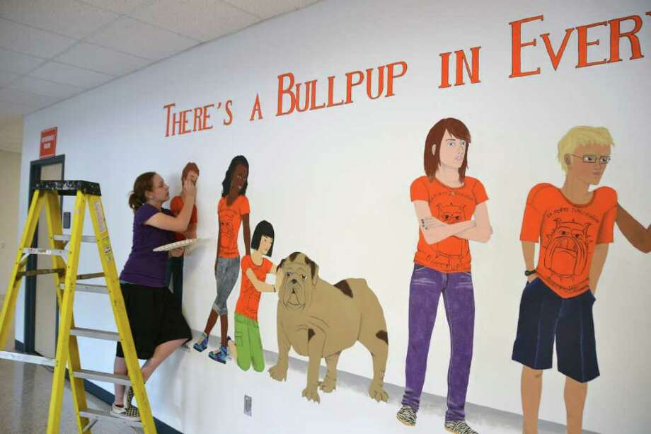 COURTESY LA PORTE ISD ART IN PROGRESS: La Porte ISD student Sarah Pilkinton said she created the mural because she wanted to capture the school spirit of the students. Photo: LA PORTE ISD