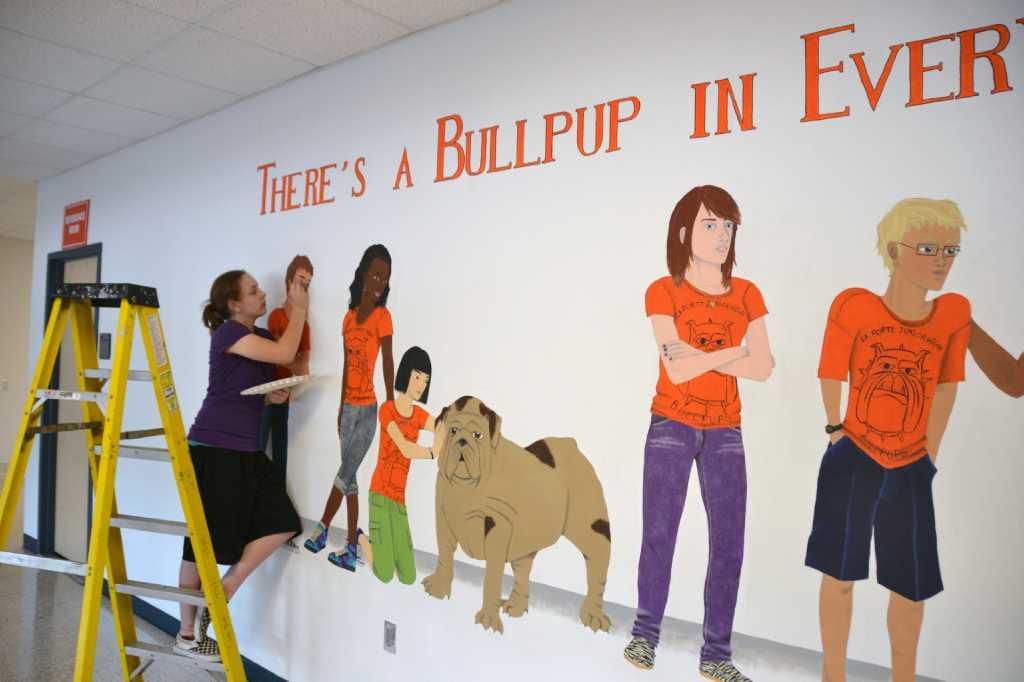 la porte isd student creates mural on wall of junior high
