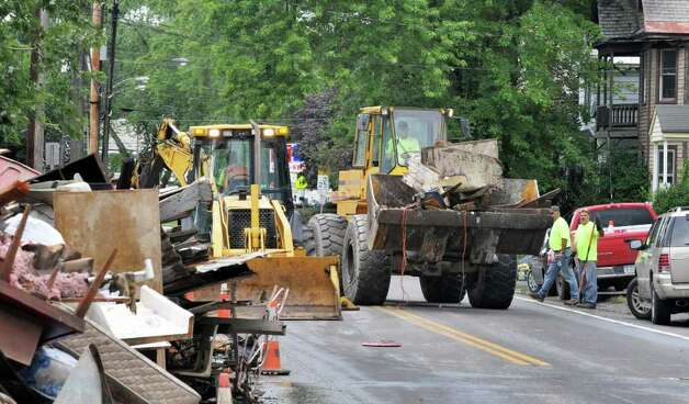 Route 5S in Rotterdam Junction is closed as  as cleanup efforts continue in the Village Tuesday Sept. 6, 2011, in the aftermath of Tropical Storm Irene last week.  (John Carl D'Annibale / Times Union) Photo: John Carl D'Annibale / 00014522A