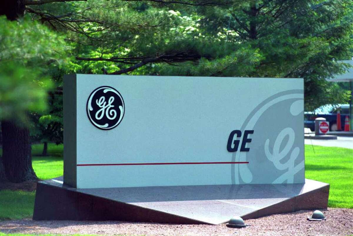 The sign in front of General Electric Co.'s Fairfield headquarters. Photographer: J. Gregory Raymond. Bloomberg News.