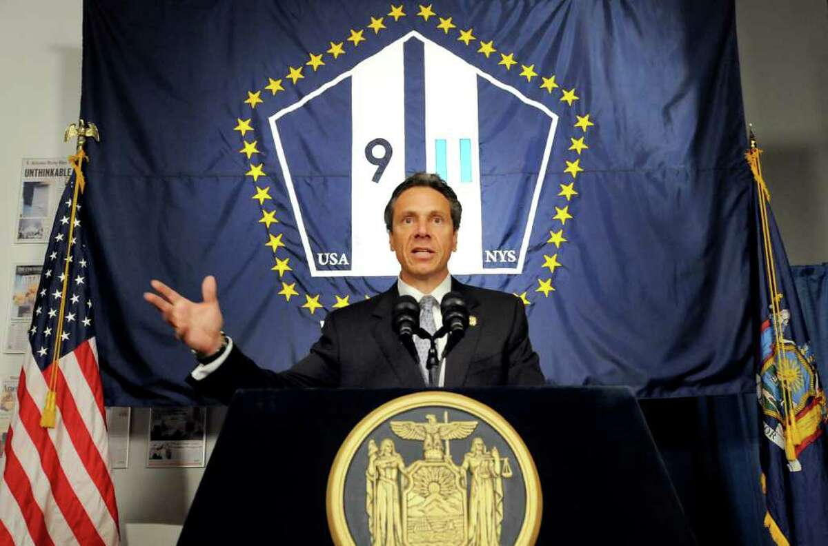 Gov. Andrew Cuomo introduces a new flag to commemorate Sept. 11, 2001 on Tuesday, Sept. 6, 2011, at the New York State Museum in Albany, N.Y. (Cindy Schultz / Times Union)