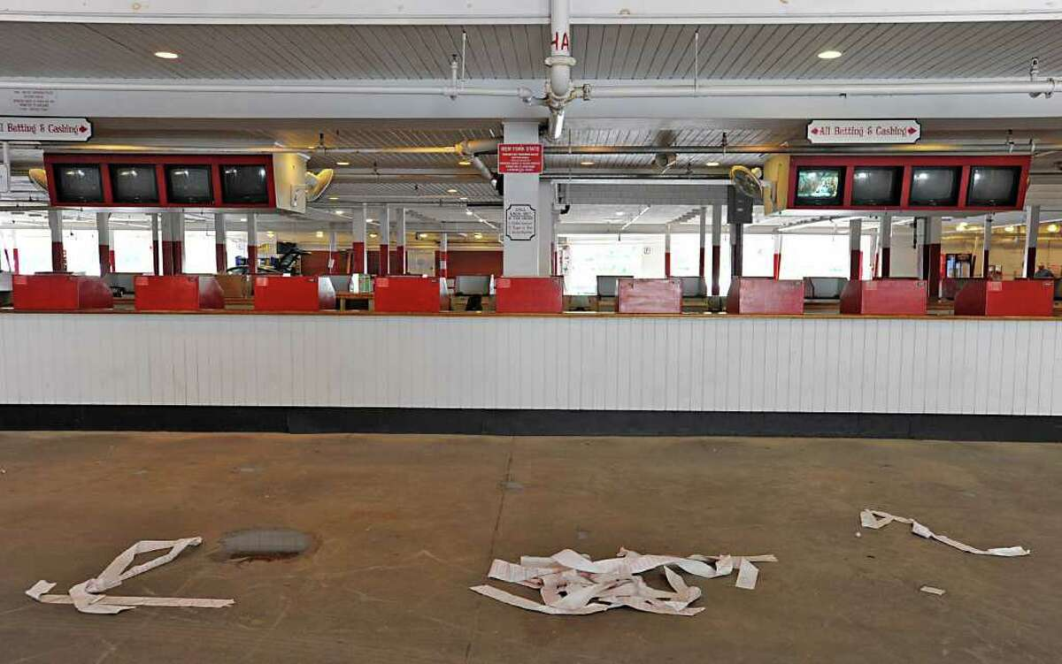 An empty ticket counter area at Saratoga Race Course on Sept. 6, 2011 in Saratoga Springs, N.Y. Yesterday was the last day of the meet. (Lori Van Buren / Times Union)