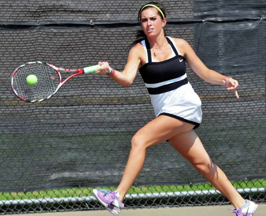 Shaker High tennis player Cat Crummey during practice at the school in Colonie Friday Sept. 2, 2011.  (John Carl D'Annibale / Times Union) Photo: John Carl D'Annibale / 00014497A