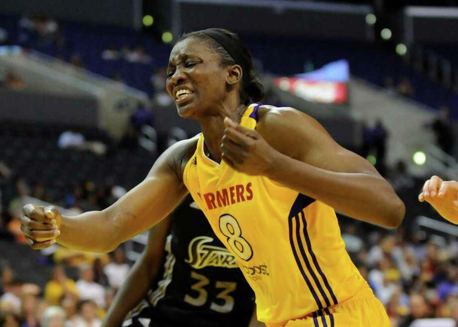 Los Angeles Sparks forward DeLisha Milton-Jones reacts to a missed shot in the second half of a WNBA basketball game against the San Antonio Silver Stars, Tuesday, Sept. 6, 2011, in Los Angeles. The Silver Stars won 82-65. Photo: Gus Ruelas/Associated Press