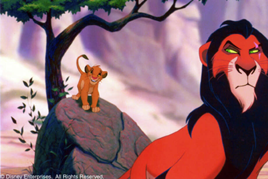 """Simba (left) visits with his """"strange"""" Uncle Scar (right) who is preparing for the day when he might rule the Pride Lands."""