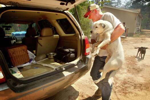 Nathan Trammell loads the first of the family's two dogs, Tuesday, into his van after the fire department declared a mandatory evacuation because of wildfires in Cass County, Tuesday, Sept. 6, 2011, in Linden, Texas. One of the most devastating wildfire outbreaks in Texas history left more than 1,000 homes in ruins Tuesday and stretched the state's firefighting ranks to the limit, confronting Gov. Rick Perry with a major disaster at home just as the GOP presidential contest heats up. Photo: AP