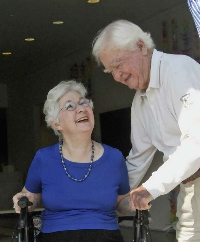 TONY BULLARD: FOR THE CHRONICLE A WONDERFUL THING: Marilyn Hillery and her husband, Robert Hillery, visit the new Marilyn Morgan Hillery Community Gallery at the Pearl Fincher Museum of Fine Arts. Photo: Tony Bullard / Credit: for the Chronicle