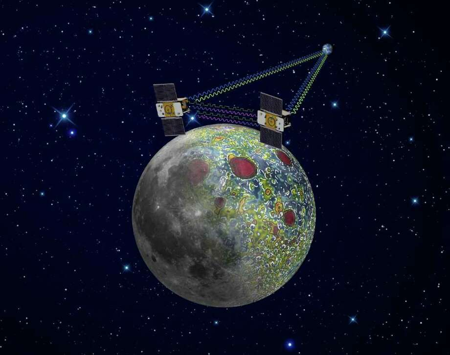 This undated artist's rendering made available by NASA/JPL-Caltech shows the twin Gravity Recovery And Interior Laboratory (GRAIL) spacecraft which will map the moon's gravity field. Radio signals traveling between the two spacecraft provide scientists the exact measurements required as well as flow of information not interrupted when the spacecraft are at the lunar farside, not seen from Earth. The result should be the most accurate gravity map of the moon ever made. ??The mission also will answer longstanding questions about Earth's moon, including the size of a possible inner core, and it should provide scientists with a better understanding of how Earth and other rocky planets in the solar system formed. GRAIL is a part of NASA's Discovery Program. ??(AP Photo/NASA/JPL-Caltech) Photo: HOPD / NASA/JPL-Caltech