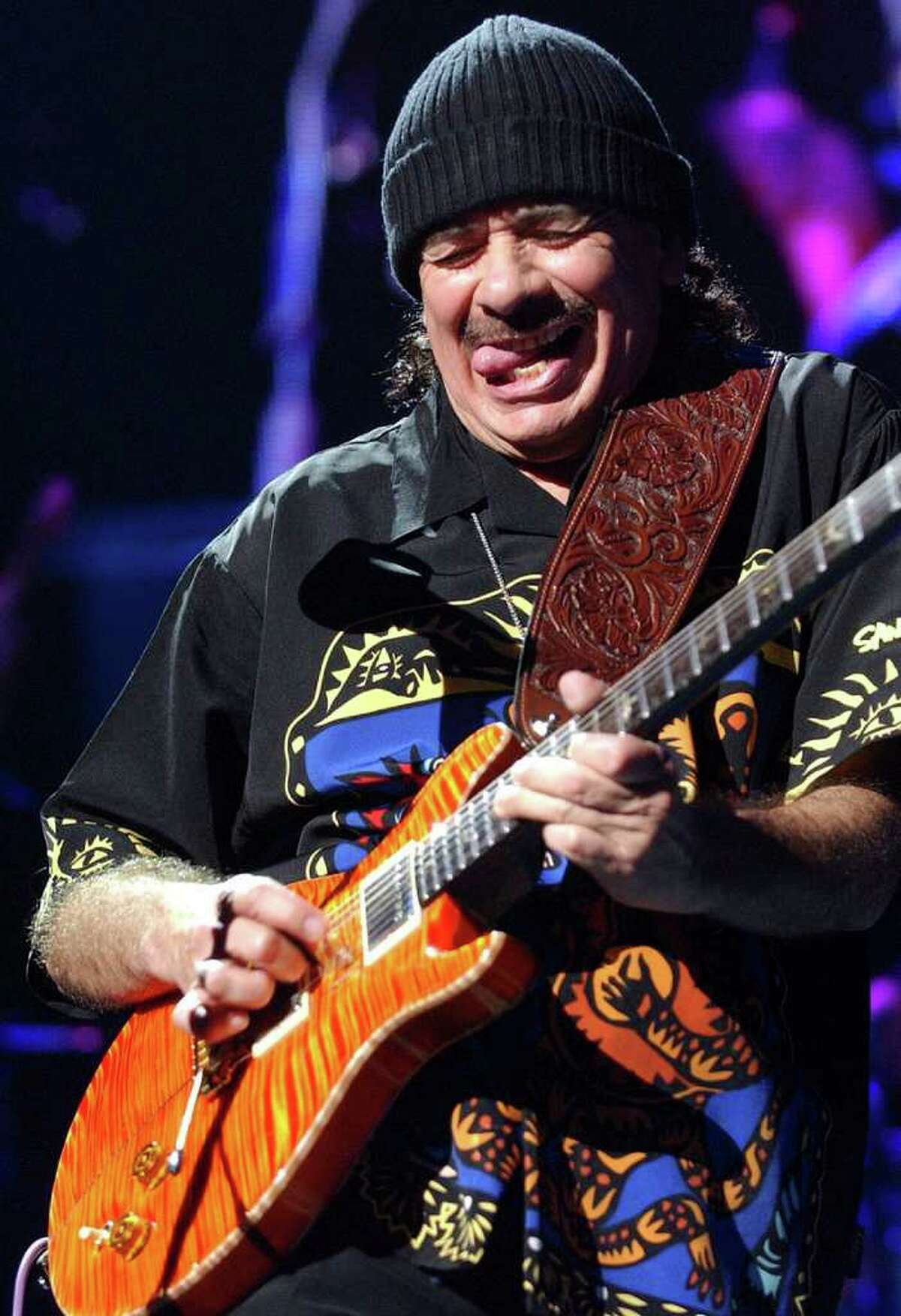 Carlos Santana performs Thursday Oct. 6, 2005 at the SBC Center. PHOTO BY EDWARD A. ORNELAS/STAFF