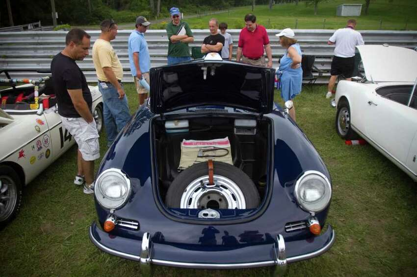 A 1956 Porsche 356 SC on display during the Sunday in the Park Concours, part of Lime Rock Park's Historic Festival 29 in Lakeville, Conn. on Sunday, Sept. 4, 2011.