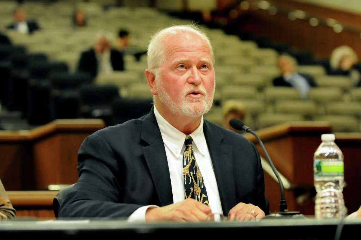 Jonathan Rouis, chairman of Sullivan County Legislature, speaks during a public hearing on gambling on Wednesday, Sept. 7, 2011, at the Legislative Office Building in Albany, N.Y. (Cindy Schultz / Times Union)