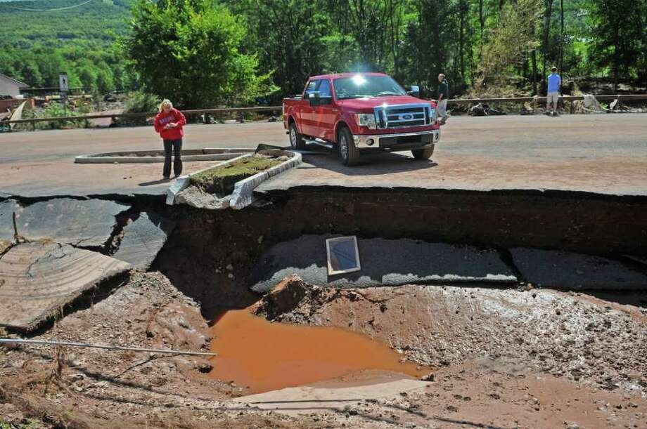 Part of Main Street damaged during Hurricane Irene, seen here on Monday Aug. 29, 2011,  in Windham, NY.   (Philip Kamrass / Times Union) Photo: Philip Kamrass