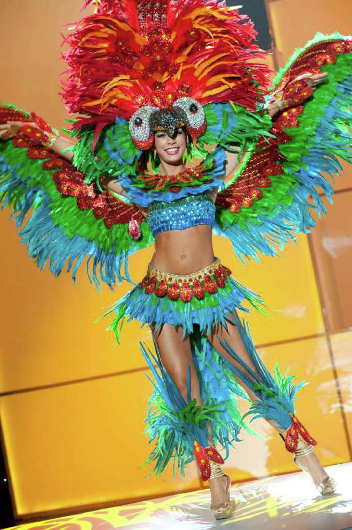 Miss Bolivia 2011, Olivia Pinheiro pre-tapes in her National Costume onstage at Credicard Hall on September 7, 2011. She is preparing to compete in the 2011 MISS UNIVERSE® Competition on September 12 at 9:00 p.m. ET broadcast LIVE on NBC from Credicard Hall in São Paulo, Brazil.