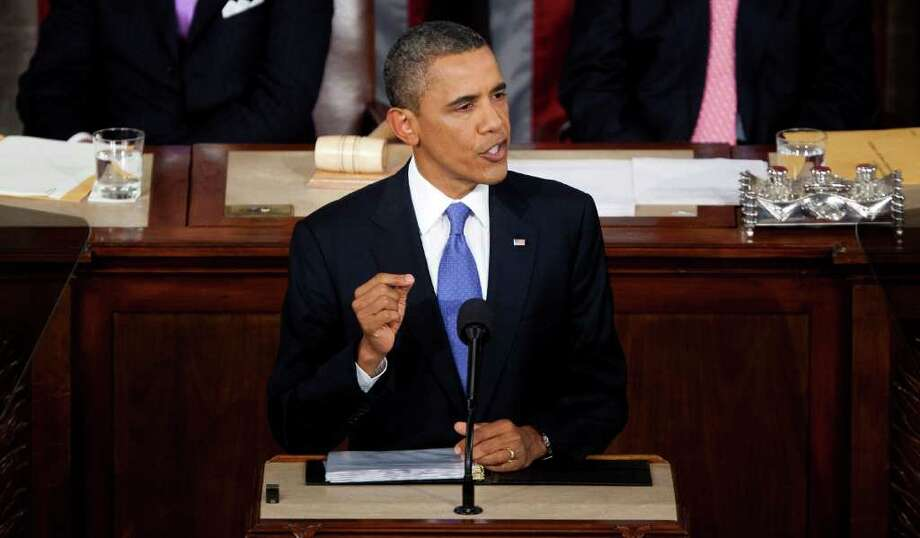 In a joint session of Congress, President Barack Obama urges both parties to work together to help create American jobs. Photo: Joshua Roberts, 902825 / 2011 Bloomberg Finance LP