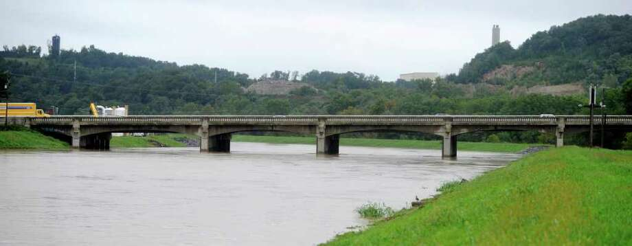 The Route 30 bridge in York, Pa., is seen  above the rising Codorus Creek, Thursday, Sept. 8, 2011. Days of rainfall from what had been Tropical Storm Lee inundated a wide portion of Pennsylvania and other northeastern states this week, forcing tens of thousands of people to seek higher ground, while pouring into basements and low-lying homes, leaving at least four dead and triggering fears about the adequacy of flood control systems. Photo: Kate Penna, AP / York Daily Record