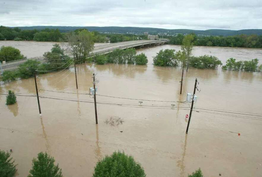 Aeriel view of the swollen Susquehanna River near the Pierce Street Bridge in Wilkes-Barre, Pa.,on