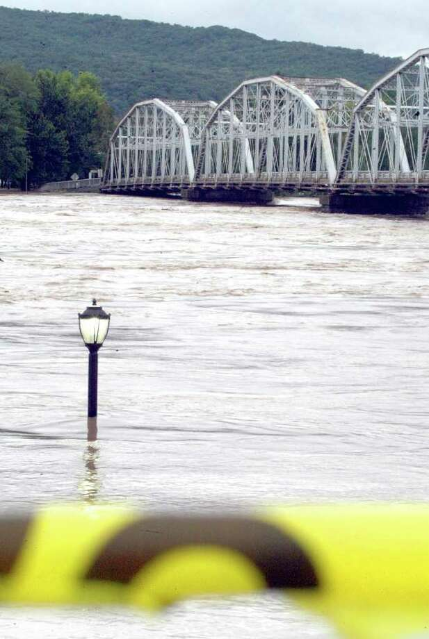 Riverfront Park in Pittston, Pa., is inundated with water from the swollen Susquehanna River, Thursday, Sept. 8, 2011.  Nearly 100,000 people from New York to Maryland were ordered to flee the rising Susquehanna River on Thursday as the remnants of Tropical Storm Lee dumped more rain across the Northeast, closing major highways and socking areas still recovering from Hurricane Irene.  (AP Photo/The Citizens' Voice, Kristen Mullen)  MANDATORY CREDIT Photo: Kristen Mullen, AP / The Citizens' Voice