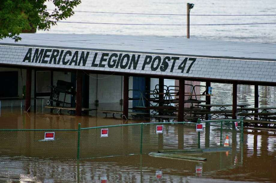 American Legion Post 47 is flooded Thursday, Sept. 8, 2011 in Havre De Grace, Md. Flooding from the remnants of Tropical Storm Lee drove hundreds of Maryland residents from their homes Thursday and claimed at least one life less than two weeks after Hurricane Irene soaked the national capital region. Photo: Saquan Stimpson, AP / ©The News Journal2011/SAQUAN STIMPSON, all rights reserved