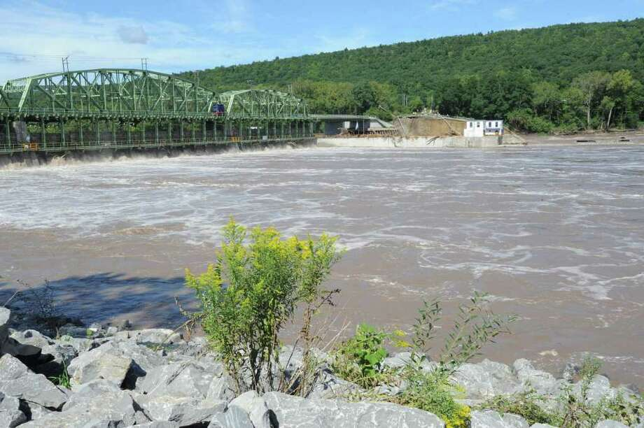 Part of the bridge and land at Lock 9 on Bridge Street in Rotterdam Junction , N.Y. has washed away from the Mohawk River flooding on Sept. 8, 2011. (Lori Van Buren / Times Union) Photo: Lori Van Buren
