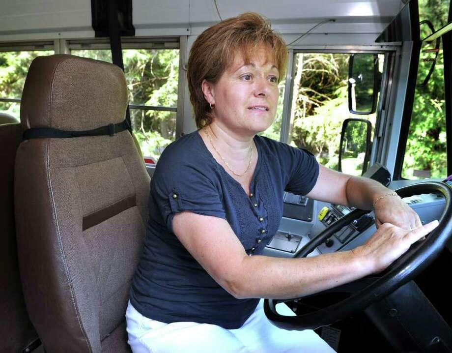 Denise Buckley is an owner-operator school bus driver in Newtown. Photo: Carol Kaliff