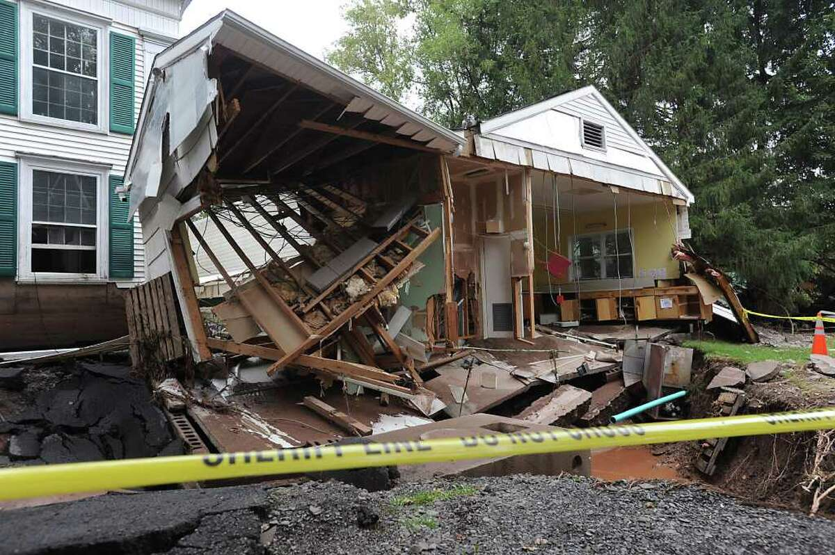 A damaged kitchen of a church on Main St. in Prattsville, N.Y. on Sept. 8, 2011. The Schoharie Creek flooded the town after tropical storm Irene.(Lori Van Buren / Times Union)