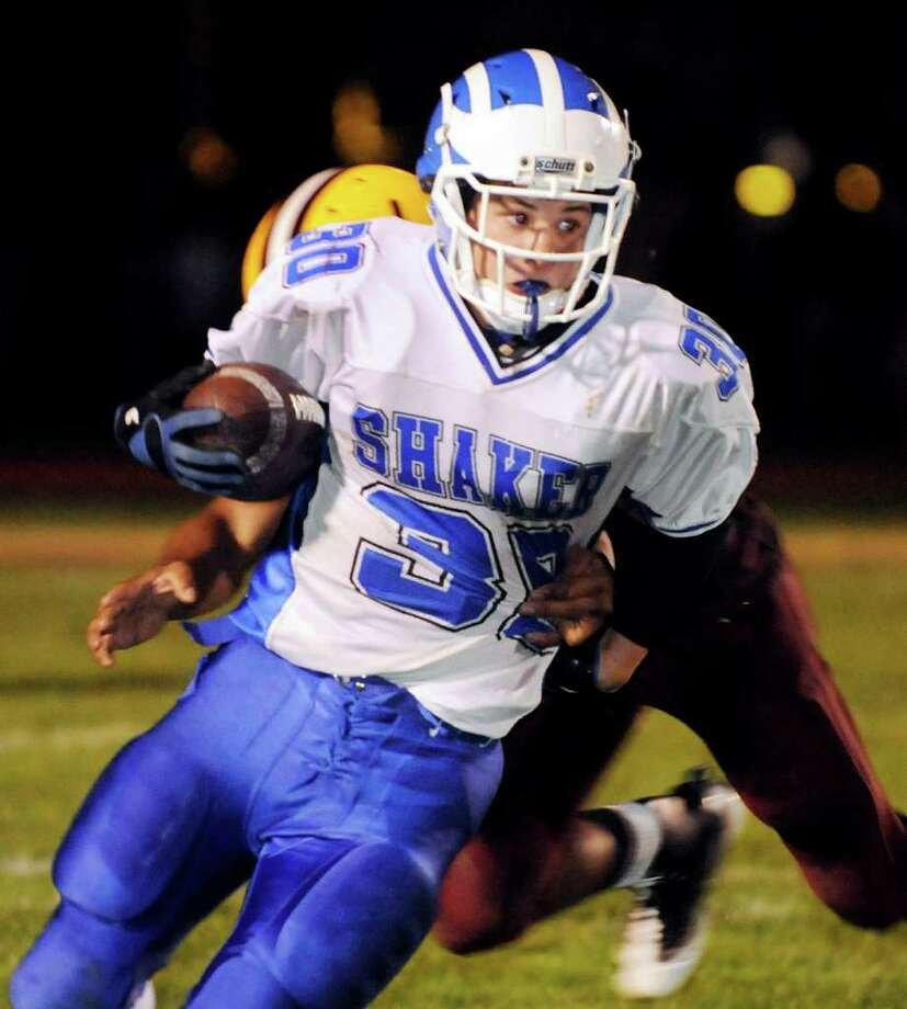 Shaker's Kyle Bernard (30) gains yards during their football game against Colonieon Friday, Sept. 9, 2011, at Colonie HIgh in Colonie, N.Y. (Cindy Schultz / Times Union) Photo: Cindy Schultz