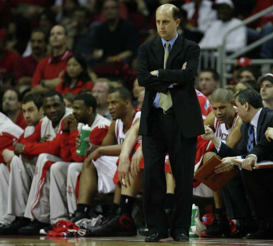 The Houston Rockets head coach Jeff Van Gundy stands on the sideline during the first quarter of game seven in the first round of the NBA Western Conference Playoffs against the Utah Jazz at the Toyota Center Saturday, May 5, 2007, in Houston. ( James Nielsen / Chronicle ) Photo: James Nielsen / Houston Chronicle