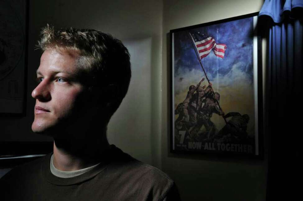 Ryan Smithson is a US Army veteran, having served in the Iraq war as part of the Army Reserves. He was photographed on Monday Sept. 5, 2011 in Schenectady, NY. ( Philip Kamrass /Times Union)