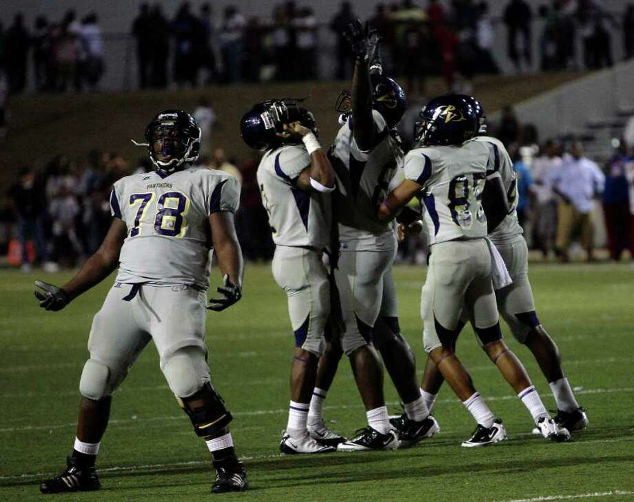 Prairie View 37, Texas Southern 34.Prairie View celebrates after the victory over Texas Southern University at at James M. Delmar Stadium Saturday, Sept. 10, 2011, in Houston. Photo: Cody Duty, Houston Chronicle / © 2011 Houston Chronicle