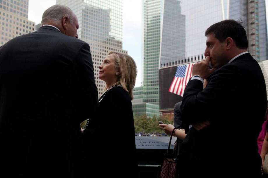Secretary of State Hillary Rodham Clinton visits the Sept. 11 memorial during the ceremony marking the 10th anniversary of the attacks on the World Trade Center in New York Sunday, Sept. 11, 2011. Photo: AP